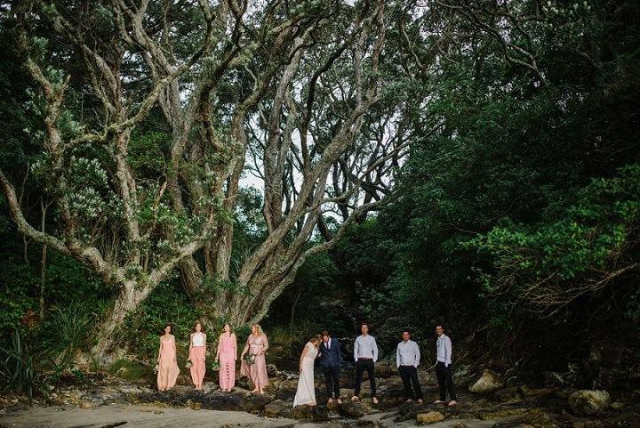 Bohemain New Zealand Beach bridal party Wedding By Vignoto Photo