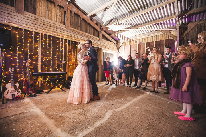 Liz and Nick's Rustic New Years Eve Farm Wedding first dance