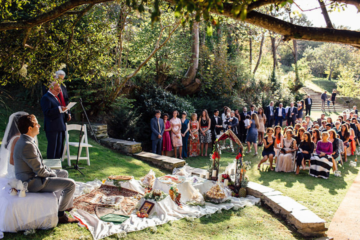 Wedding at Kilminorth Cottages outdoor ceremony in Looe By Freckle Photography