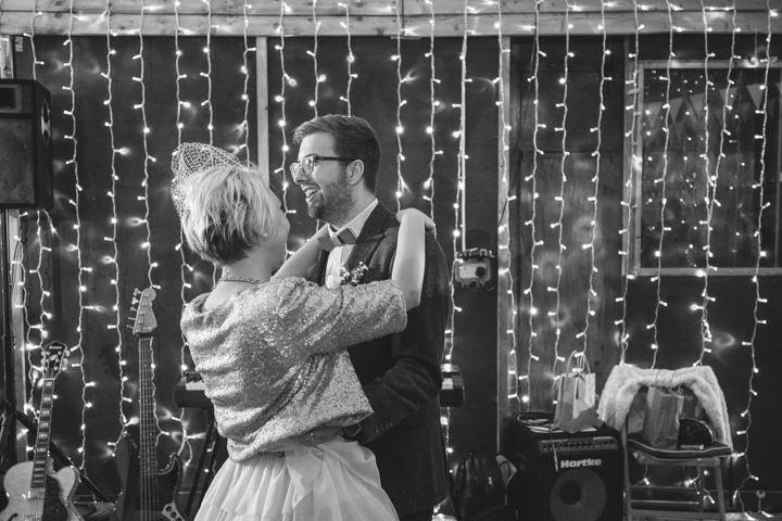 Liz and Nick's Rustic New Years Eve first dance Farm Wedding