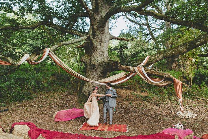 Bohemain Dorset Festival bride and groom Wedding By Paul Underhill Photography