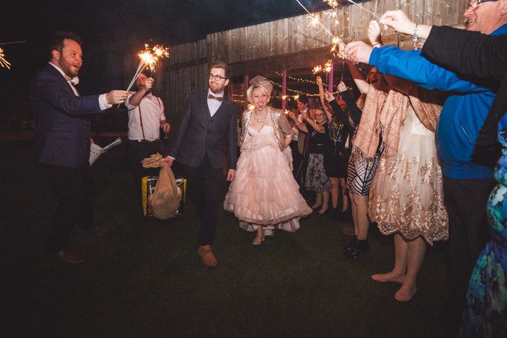 Liz and Nick's Rustic New Years Eve sparklers Farm Wedding Furtho Manor Farm