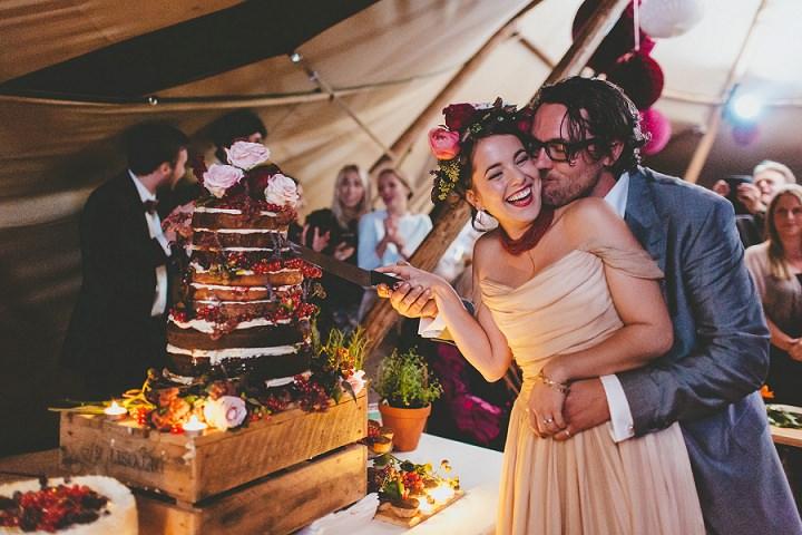 Bohemain Dorset Festival naked cake Wedding By Paul Underhill Photography