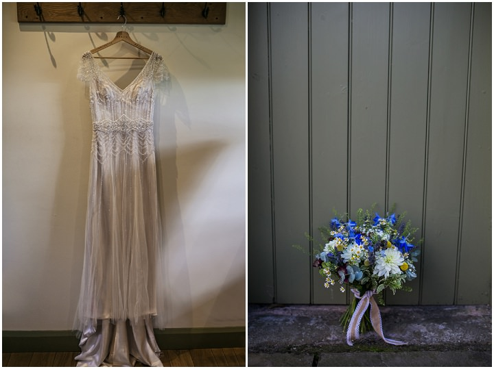 Homespun Ashes dress and flowers Barns Wedding By YU Photography