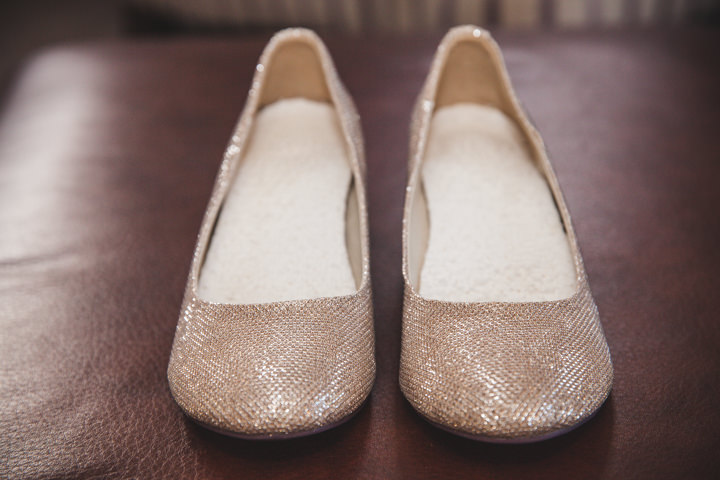 Liz and Nick's Rustic New Years Eve Farm Wedding flat shoes