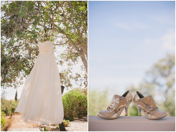 Homespun Algarve Wedding shoes and dress By Piteira Photography