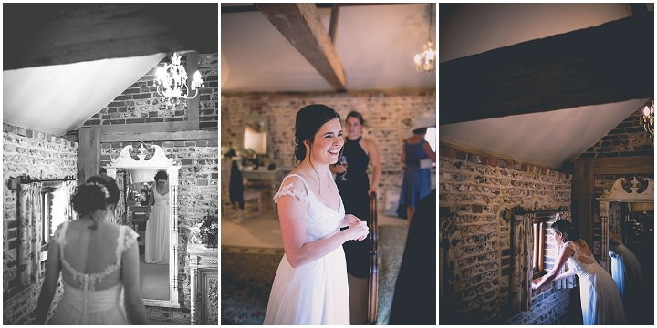 Upwaltham Barns bride at Wedding in West Sussex By Story and Colour