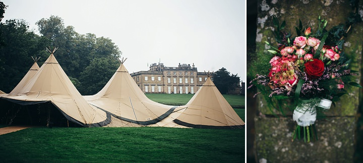 English Country Garden Wedding tipis and bouquet Inspiration