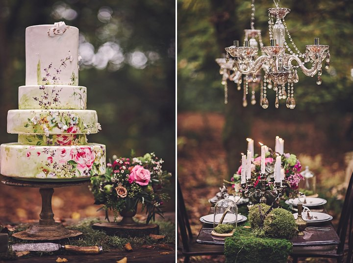 Magical Midsummers Night Dream handpainted Cake Wedding Inspiration