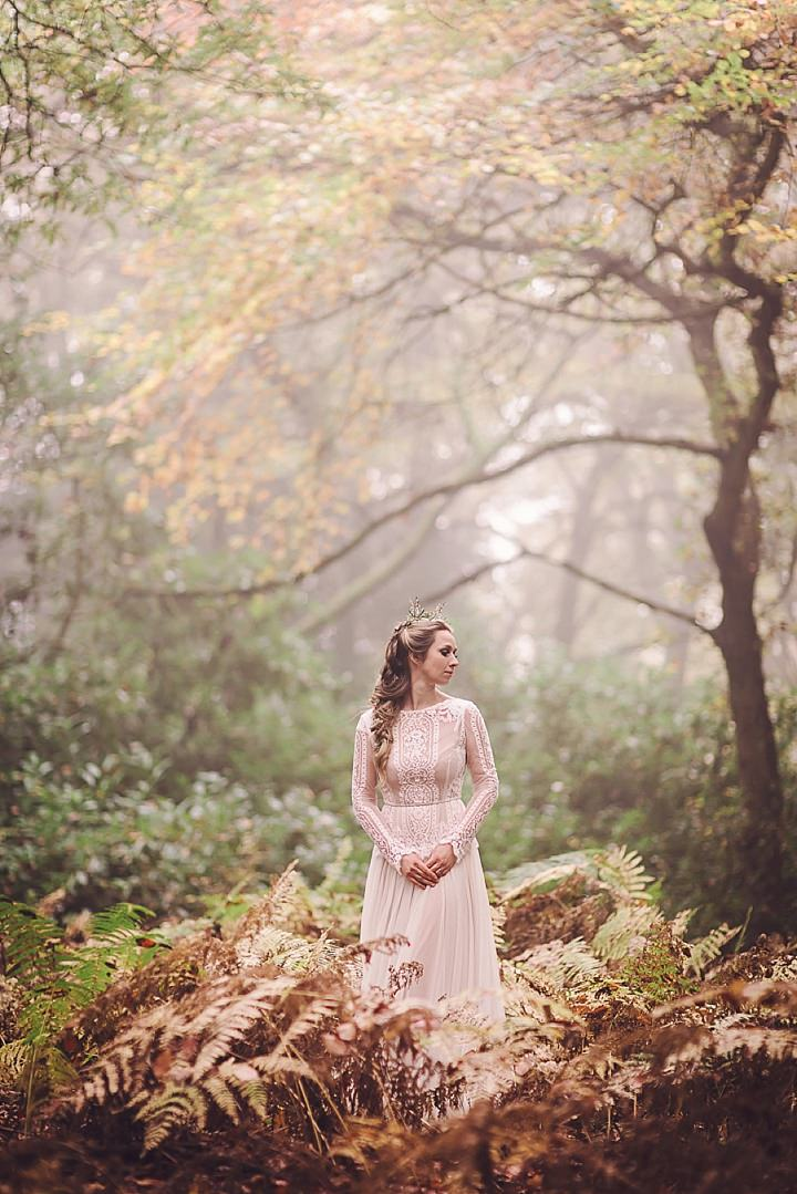 Magical Midsummers Night Dream bride in the woods Wedding Inspiration