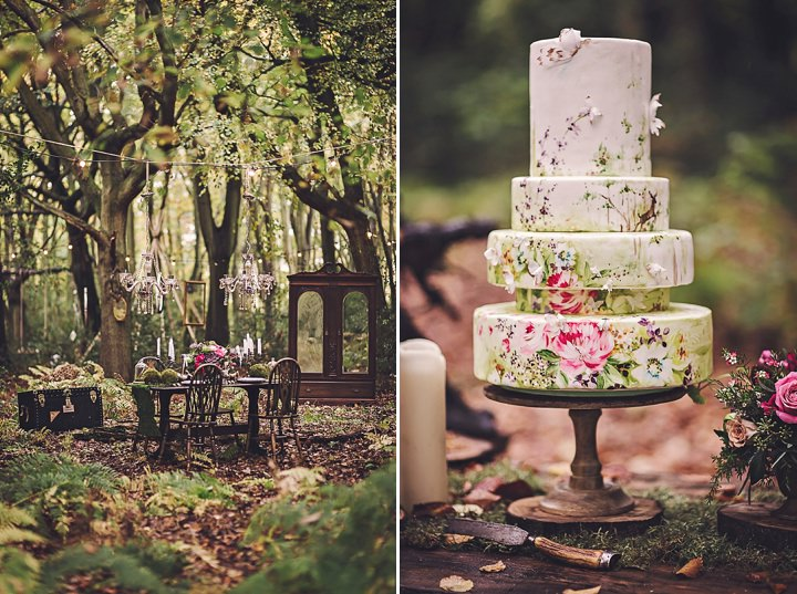 Magical Midsummers Night Dream woodland cake Wedding Inspiration