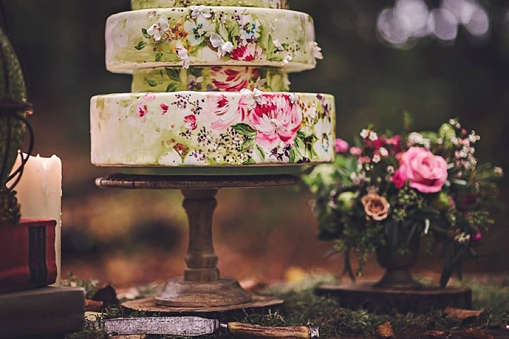 Magical Midsummers painted cake Night Dream Wedding Inspiration