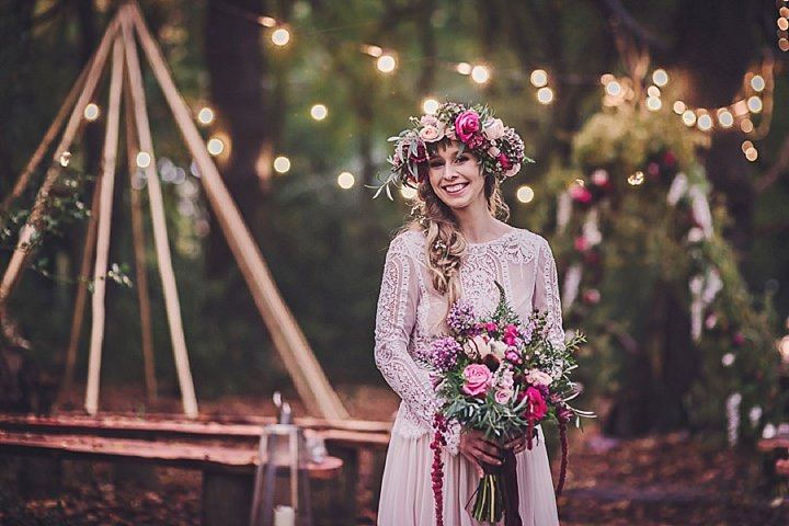 Magical Midsummers Night Dream real flower crown Wedding Inspiration