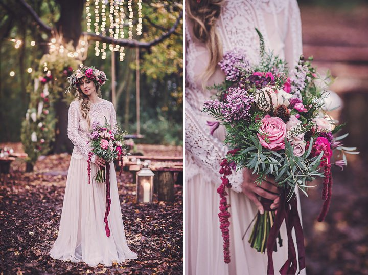 Magical Midsummers Night Dream bouquet real flower crown Wedding Inspiration