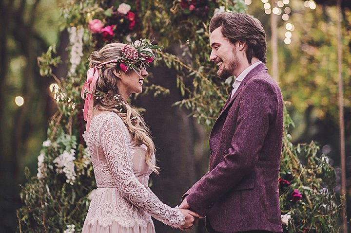 Magical Midsummers Night Dream bride and groom real flower crown Wedding Inspiration