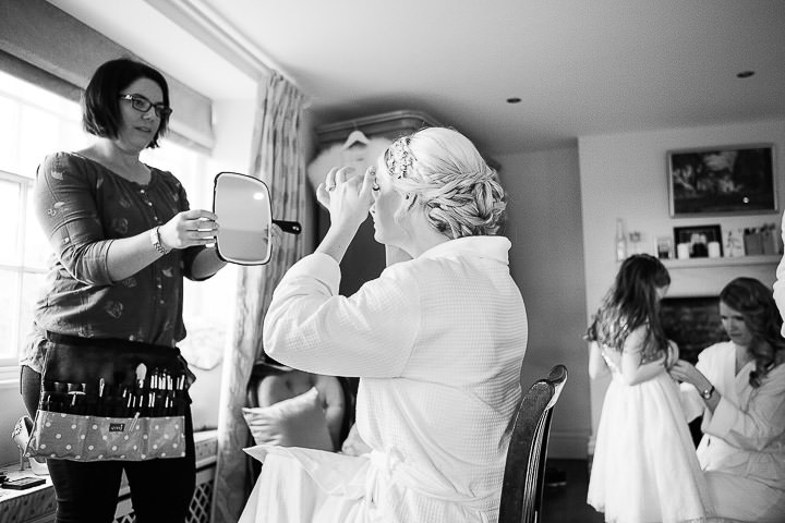 New Years Eve Wedding at The Great Tythe Barn bridal prep By Kevin Belson Photography