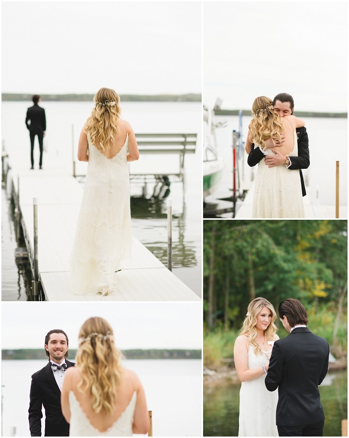 Canadian Camp Wedding first look By Kristyn Harder Photography