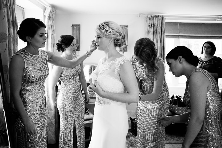 New Years Eve Wedding at The Great Tythe Barn bride and maids By Kevin Belson Photography