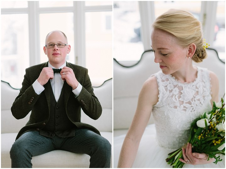 Winter Forest Wedding bride and groom in Sweden By Loke Roos Photography