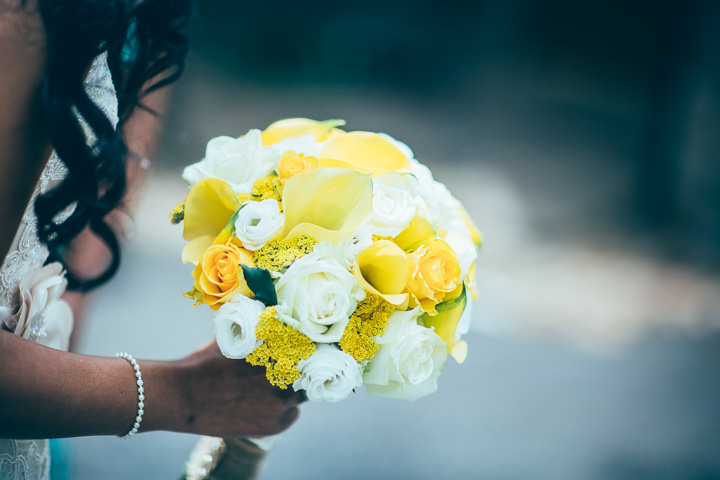 Wedding in Wolfen Mill yellow bouquet Lancashire By Fairclough Photography