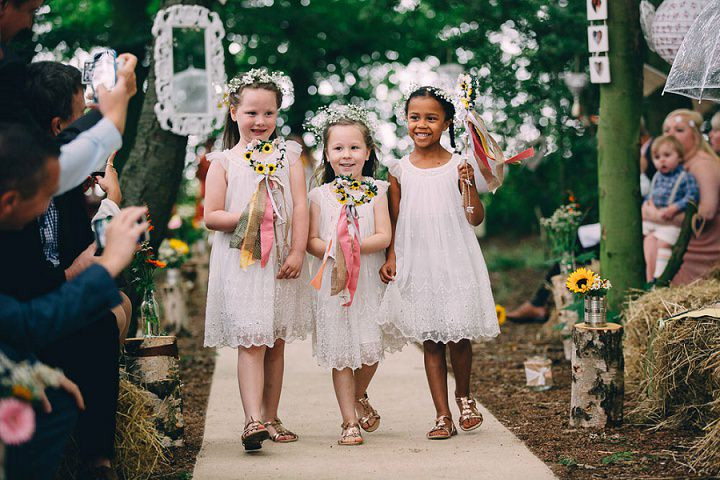 Festival Wedding flowergirls at Stanley Villa Farm in Preston By Mike Plunkett Photography