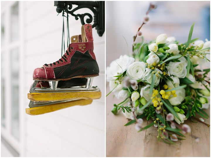 Winter Forest skates and flowers Wedding in Sweden By Loke Roos Photography