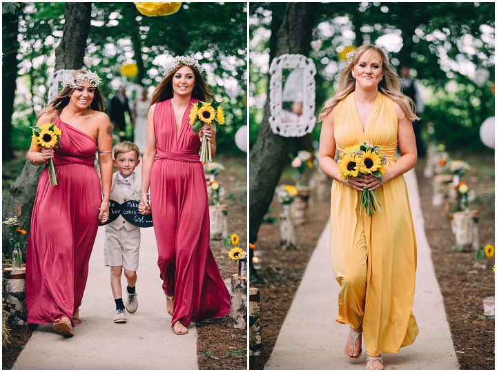 Festival Wedding bridesmaids at Stanley Villa Farm in Preston By Mike Plunkett Photography