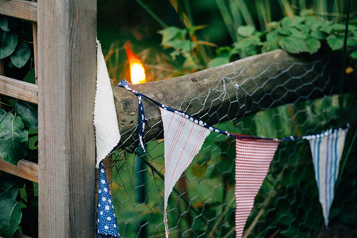 Back Garden Welsh Wedding bunting By Kelly J Photography