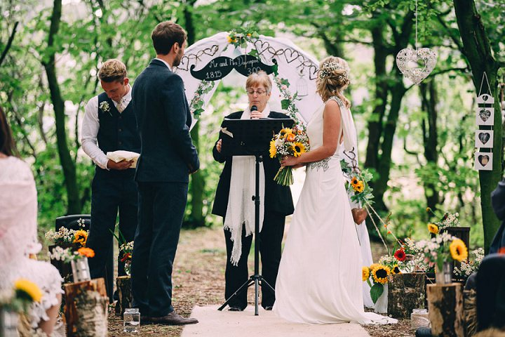 Festival Wedding humanist ceremony at Stanley Villa Farm in Preston By Mike Plunkett Photography