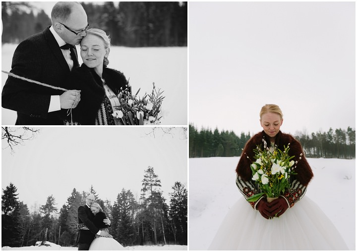Winter Forest Wedding in the snow Sweden By Loke Roos Photography
