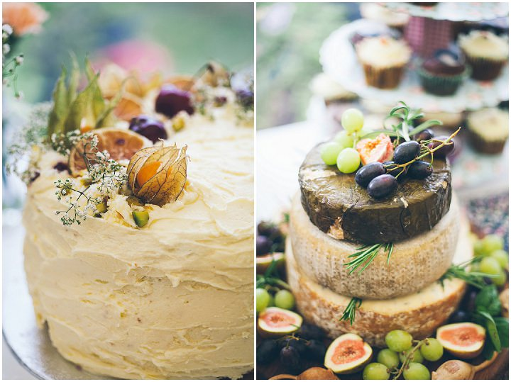 Back Garden Welsh Wedding cheese cake By Kelly J Photography