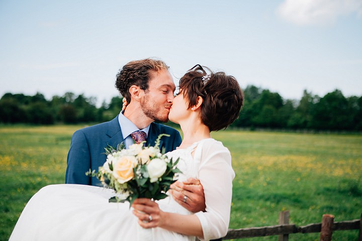Back Garden Welsh Wedding kissing By Kelly J Photography
