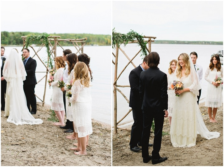 Canadian Camp Wedding ceremony on the beach By Kristyn Harder Photography