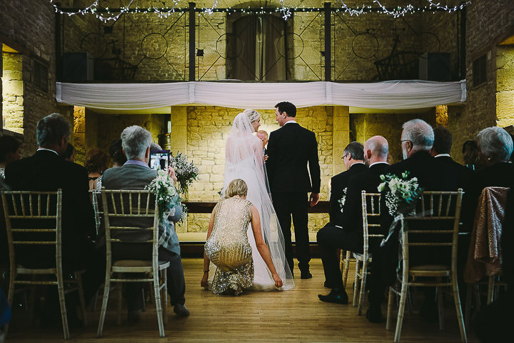 New Years Eve Wedding at The Great Tythe Barn wedding ceremony By Kevin Belson Photography