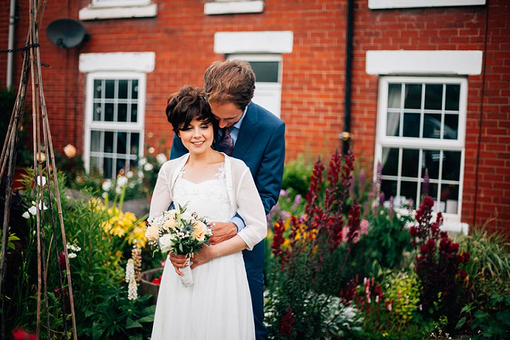 Back Garden Welsh Wedding couple in love By Kelly J Photography