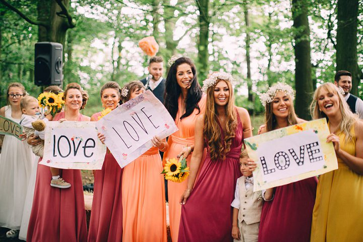 Festival Wedding Love sign at Stanley Villa Farm in Preston By Mike Plunkett Photography