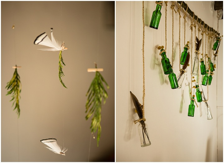 Outdoors In Anglesey Wedding hanging bottles By Gill Jones Photography