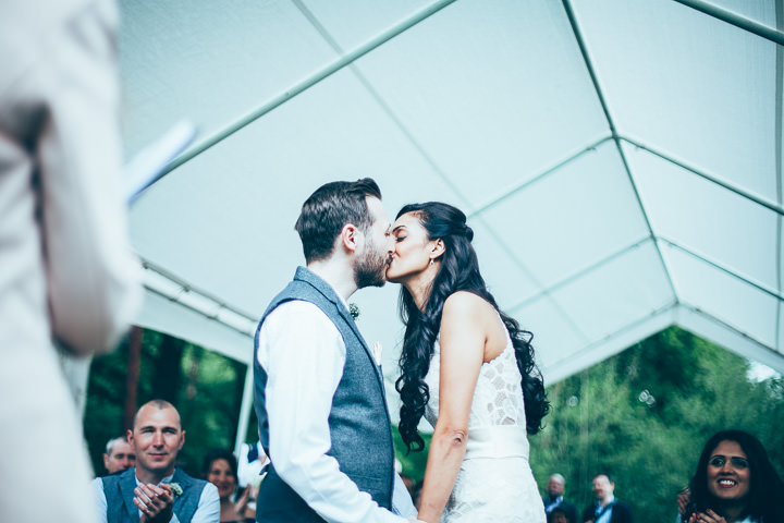 Wedding in Wolfen Mill first kiss Lancashire By Fairclough Photography