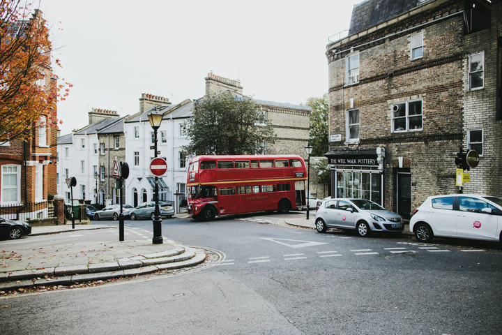 Hampstead and Prince Albert in Camden Wedding red bus By Craig and Kate