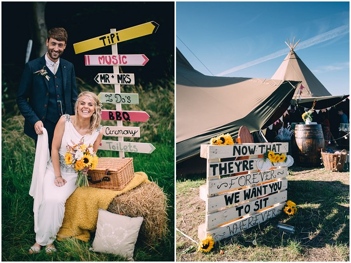 Festival Wedding tipis at Stanley Villa Farm in Preston By Mike Plunkett Photography