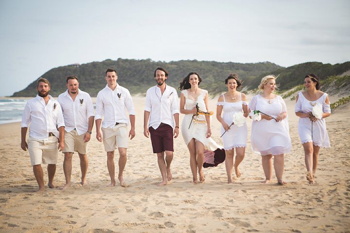 Beach Wedding bridal party in Mozambique By The Shank Tank