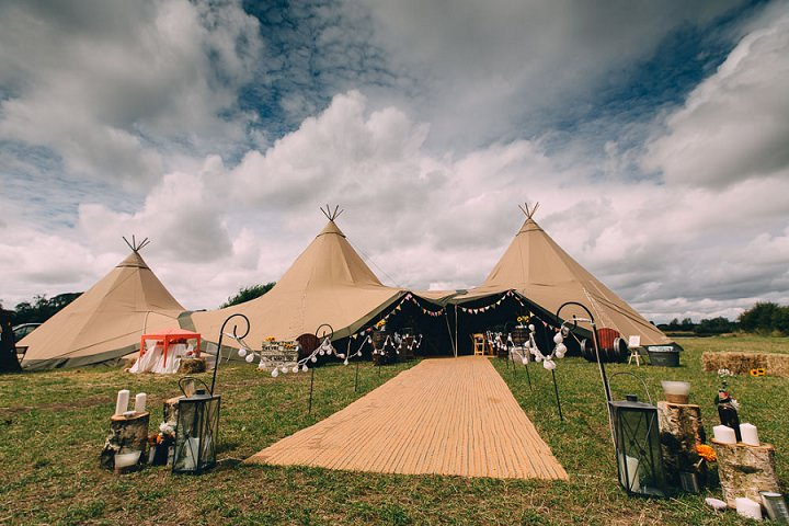 Festival Wedding tipi setting at Stanley Villa Farm in Preston By Mike Plunkett Photography