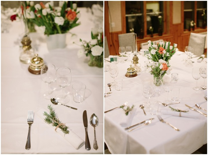 Winter Forest Wedding table decor in Sweden By Loke Roos Photography