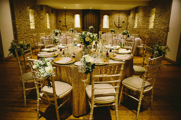 New Years Eve Wedding at The Great Tythe table setting Barn By Kevin Belson Photography