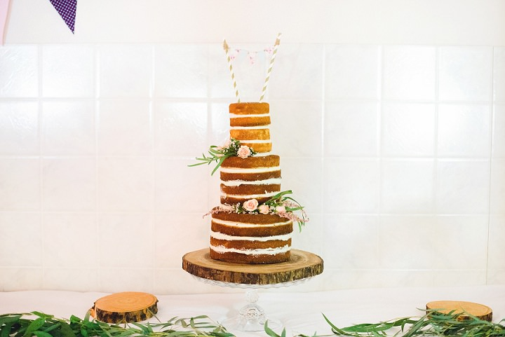 Canadian Camp Wedding naked cake By Kristyn Harder Photography