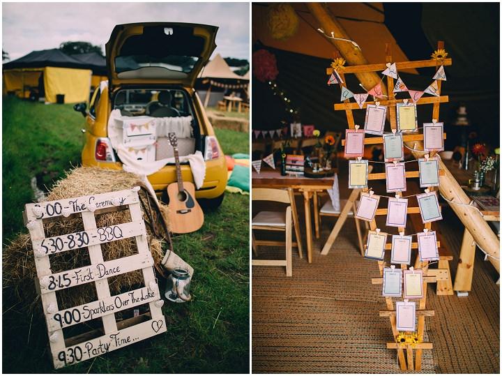 Festival Wedding table plan at Stanley Villa Farm in Preston By Mike Plunkett Photography