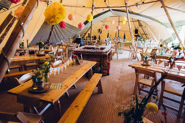 Festival Wedding reception setting at Stanley Villa Farm in Preston By Mike Plunkett Photography