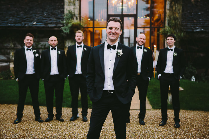 New Years Eve Wedding at The Great Tythe Barn groom By Kevin Belson Photography