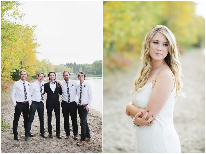 Canadian Camp Wedding groomsmen and bride By Kristyn Harder Photography