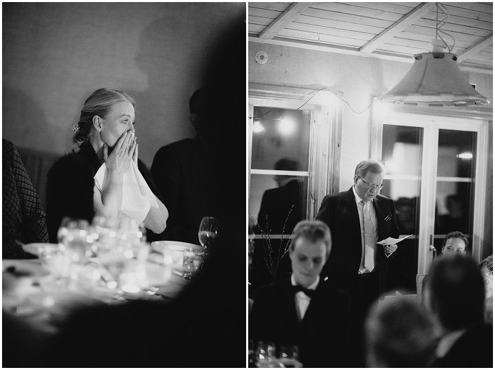 Winter Forest Wedding speeches in Sweden By Loke Roos Photography